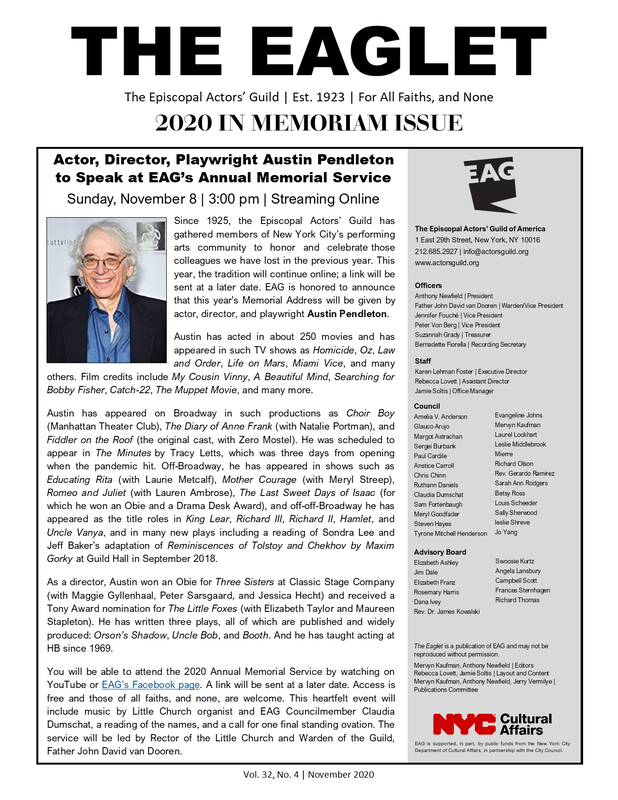 cover of the In Memorial Eaglet